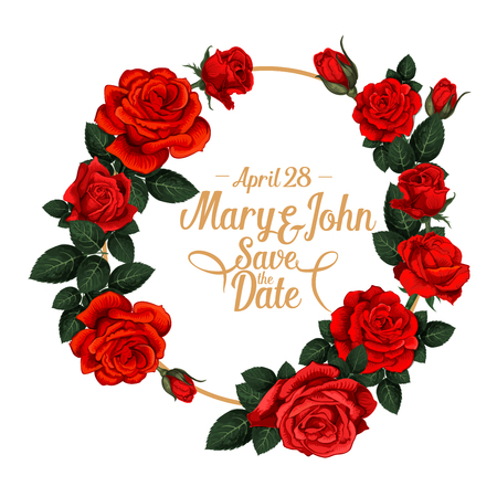 Vector floral frame for wedding save the date invitation