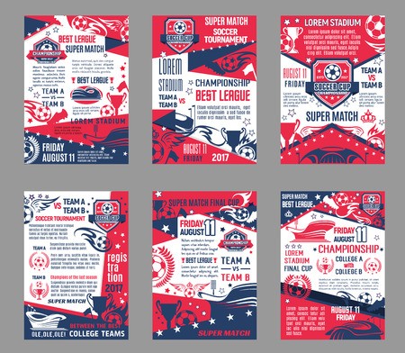Vector football league soccer championship posters