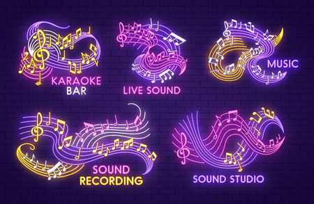 Neon music sign with note and treble clef on stave Illustration