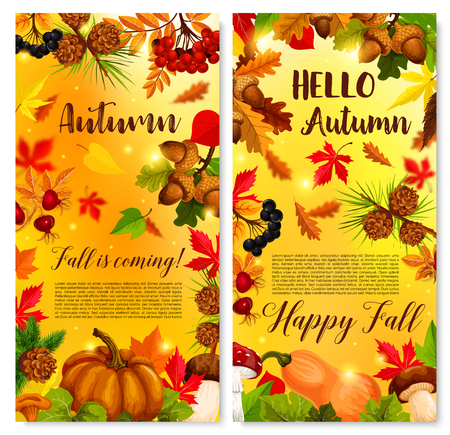 Autumn vector poster of fall foliage and pumpkin