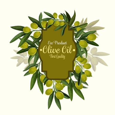 Vector olives poster for extra virgin olive oil Standard-Bild - 101253758