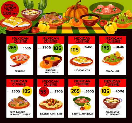Vector menu price cards for Mexican cuisine