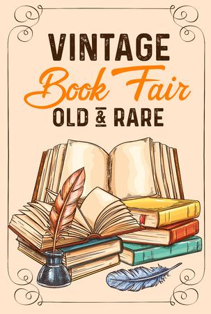 Cartel de dibujo vectorial de viejos libros antiguos raros Ilustración de vector