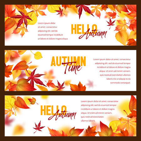 Autumn foliage fall falling leaves vector banners
