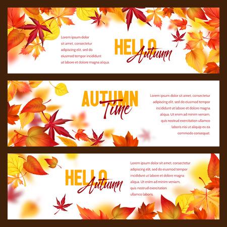 Follaje de otoño caen hojas cayendo vector banners Ilustración de vector