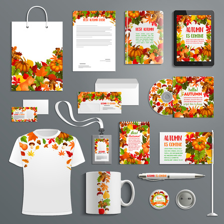 Autumn nature corporate identity template set