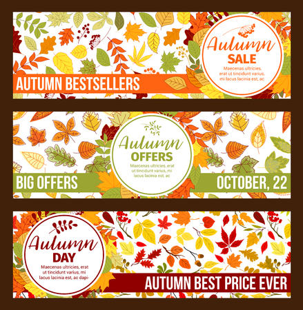 Autumn vector sale banners fall leaf foliage 写真素材 - 101254842