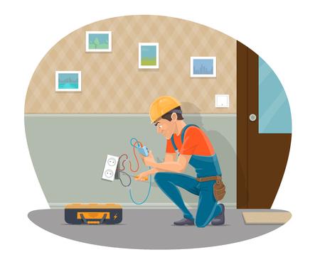Vector electircian repairing socket flat design