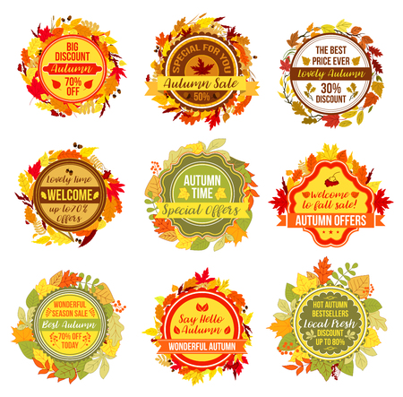 Autumn or fall sale vector leaf foliage icons