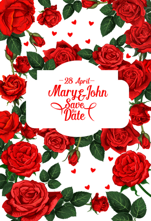 Vector flowers for save the date wedding card