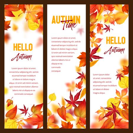 Banners de vector de otoño de follaje que cae de la hoja de otoño