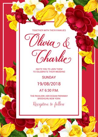 Wedding celebration invitation with spring flower Illustration