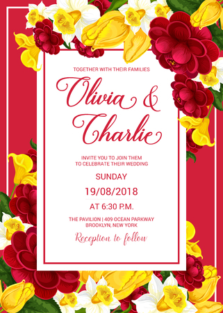 Wedding celebration invitation with spring flower Ilustracja