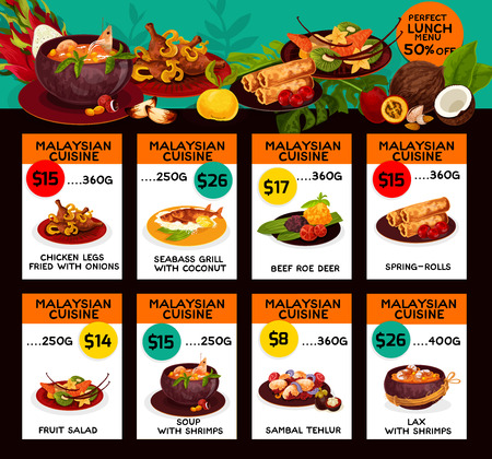 Vector price menu for Malaysian cuisine lunch Stok Fotoğraf - 101255208
