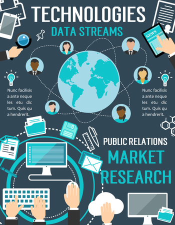 Technologies data streams vector poster for public relations market research or internet communications. Digital storage and user privacy or social networks and web cloud networking flat design  イラスト・ベクター素材