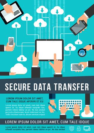 Secure data transfer data technology vector poster