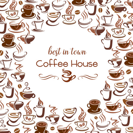 Hot coffee steam cups vector poster for cafe