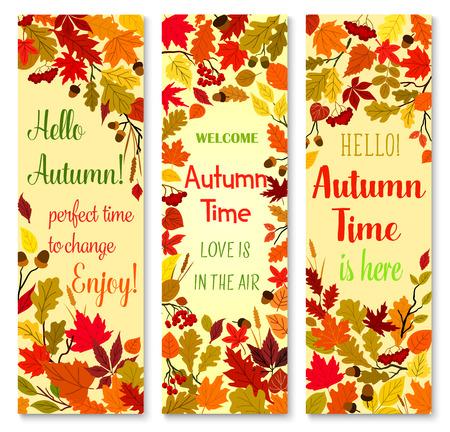Autumn season and fall nature banner set design Vettoriali