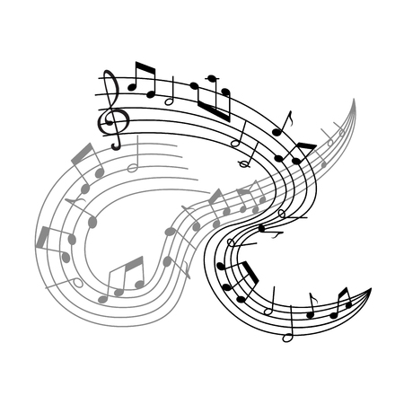 Vector music poster or musical notes staff icon Illustration
