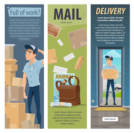Post mail delivery vector postman work banners