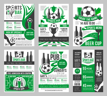 Vector soccer sports bar football pub menu posters