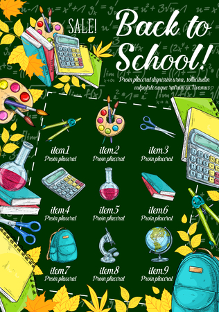 School supplies sale banner on chalkboard