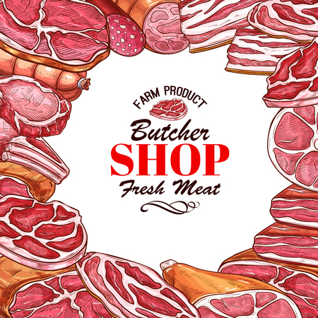 Butcher shop sketch poster or meat shop. Vector design of meat delicatessen beefsteak grill or bbq pork brisket and chicken legs, gourmet steak filet or T-bone and ribeye for barbecue