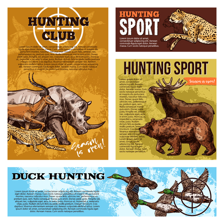 Hunter club or hunting open season sketch posters of wild African for safari hunt. Vector design for sport hunting club on rhinoceros, cheetah panther or grizzly bear and ducks