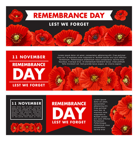 Vector design banners for 11 of November on black background. Red poppy flowers and letters on red background. Concept of 11 of November remembrance day Vettoriali
