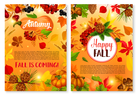 Autumn and Happy Fall is coming poster or seasonal greeting card templates set.