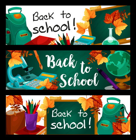 Back to School banners of green chalkboard and stationery supplies.