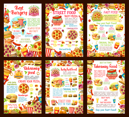 Fast food restaurant vector poster or menu template design for burgers, sandwiches or desserts and pizza.