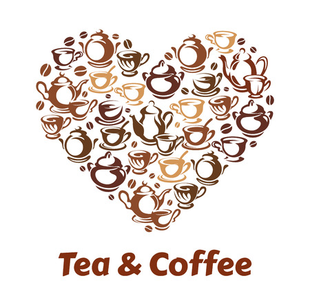 Tea and coffee heart pattern. 일러스트
