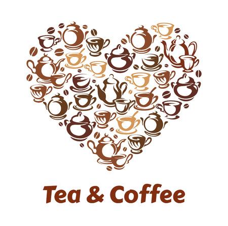 Tea and coffee heart pattern. Illustration