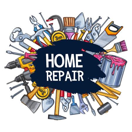 Home repair sketch vector poster