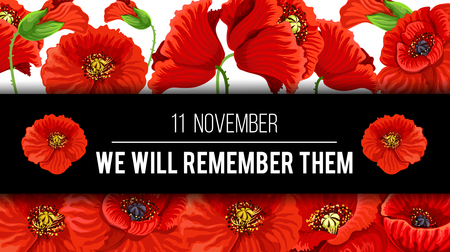 Remembrance Day with floral design poster.