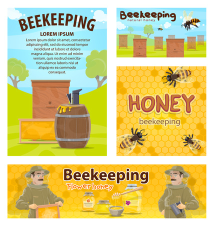 Beekeeping posters flat design vector banner