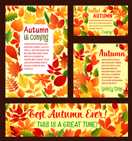 Autumn falling leaf foliage vector poster template