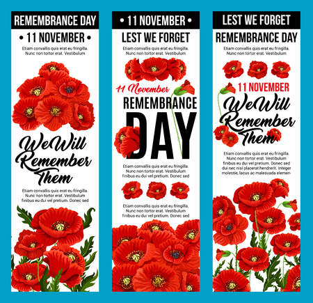 Vector poppy banners Remembrance day 11 November Vettoriali