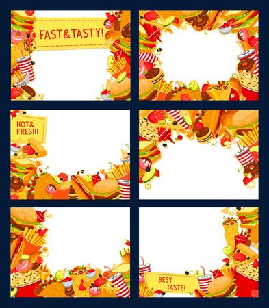 Fast food restaurant vector posters of fastfood snacks and meals frame for menu template. Vector design of burger, sandwich or dessert and pizza, street food hot dog and fries, soda drink and popcorn Illustration