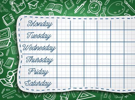 Schoolrooster van lesschemasjabloon. Wekelijkse lesplannen op groen bord, gedecoreerd met patroon van schoolspullen en schetsen van studentenpapier voor het ontwerpen van educatieve posters