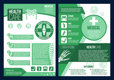 Healthcare medical center or health research clinic posters or brochure. Vector design fro orthopedics medicine or radiology orthopedic hospital of body joints and bones for diagnostics or therapy Illustration