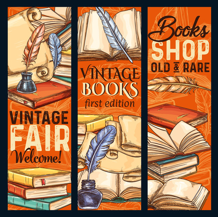 Vector sketch banners old vintage books shoop