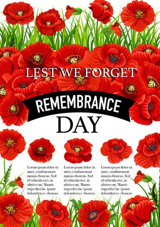 11 November Remembrance day vector poppy poster Illustration
