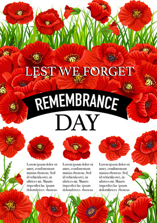 11 November Remembrance day vector poppy poster Vettoriali