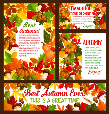 Autumn maple leaf, acorn and pumpkin vector poster Illustration