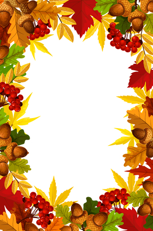 Autumn frame of fall season leaf, acorn and berry Vectores