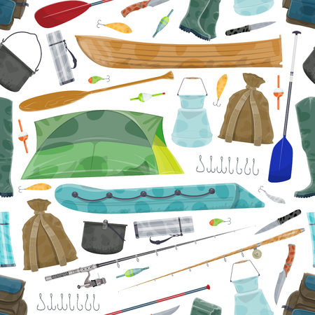 Vector fisherman fishing equipment pattern