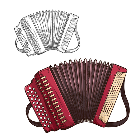 Vector sketch accordion musical insturment icon Çizim