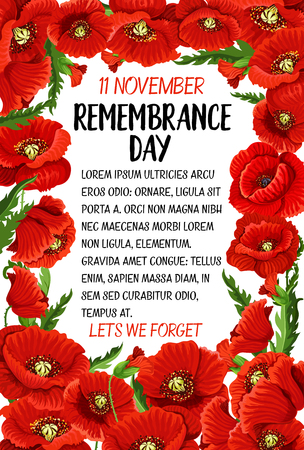 Vector 11 November Remembrance day poppy card